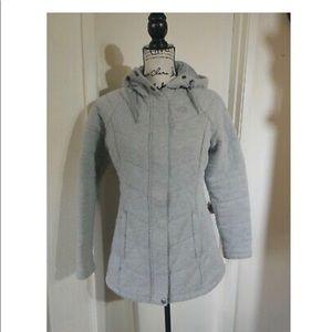 Gray north face hooded jacket medium